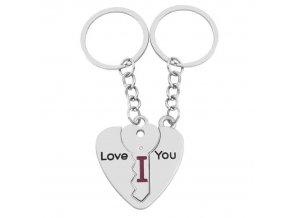 Kľúčenky pre zamilovaných, srdce a kľuč, nápis I LOVE YOU, číry zirón (1)