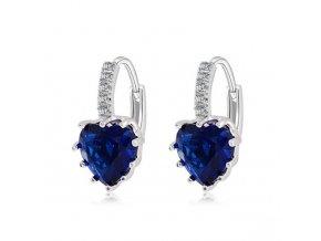 Zirkónové náušnice pre ženu, kráľovsky modré srdce, bižutéria