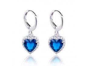 Drobné visiace dámske zirkónové náušnice, modré srdce, bižutéria