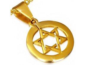 Prívesok v kruhu, Dávidova hviezda, chirurgická oceľ zlatej farby