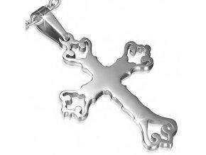 Prívesok na krk, vyrezaný ľaliový kríž z chirurgickej ocele