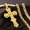 Pánska retiazka s krížom, kráľovský vzor a zlatá farba, oceľ retiazka 610 mm (5)