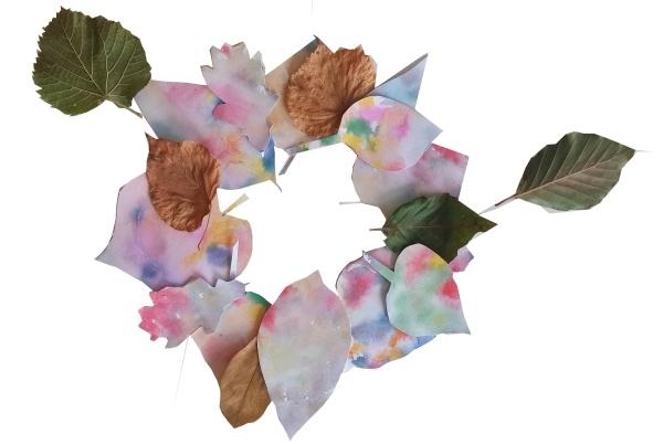 Zapouštění barev - výroba podzimního věnce