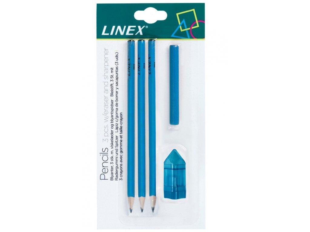 Sada 3 obyčejných tužek HB (č.2), pryže a ořezávátka Linex - modrá