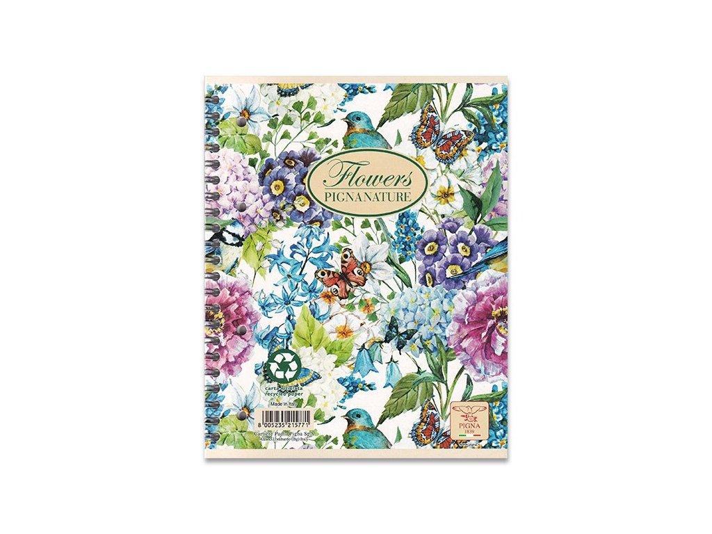 Kroužkový blok Pigna Nature Flowers, A5, čtverečkovaný, 60 listů