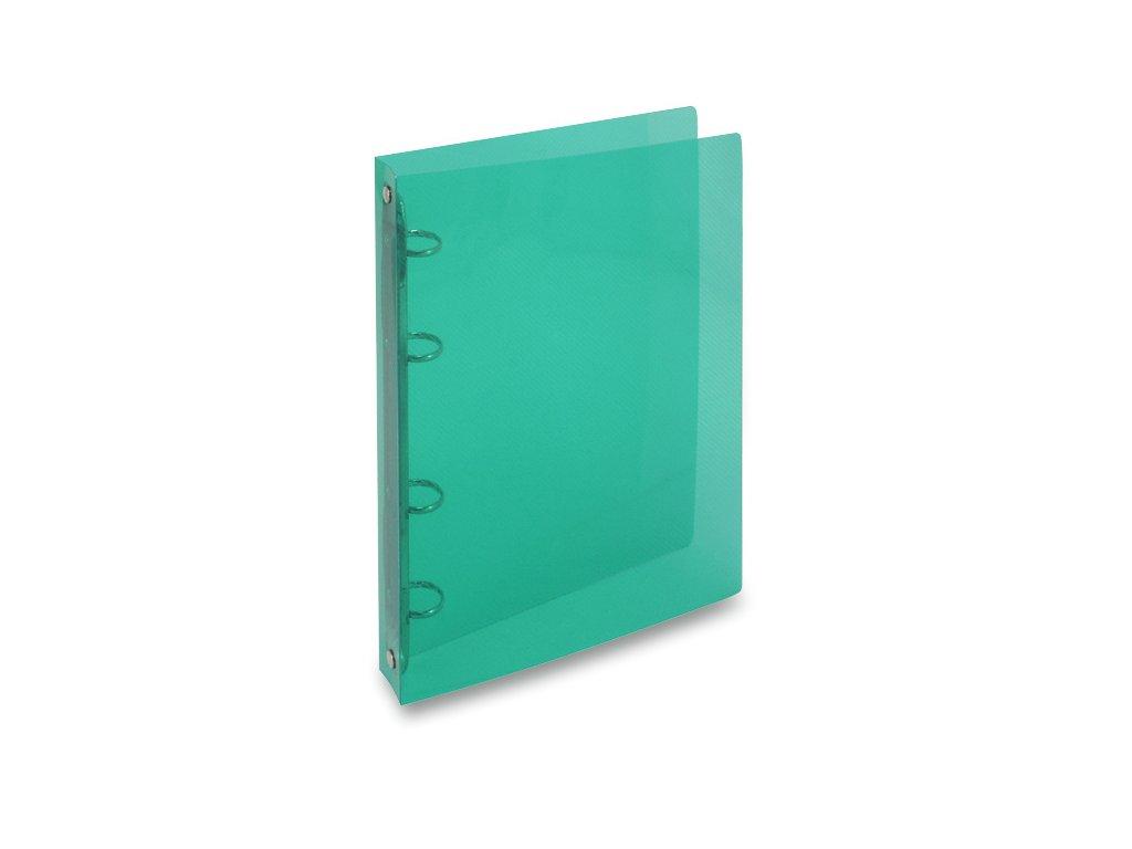 4kroužkový pořadač Transparent A5, hřbet 25 mm, zelená