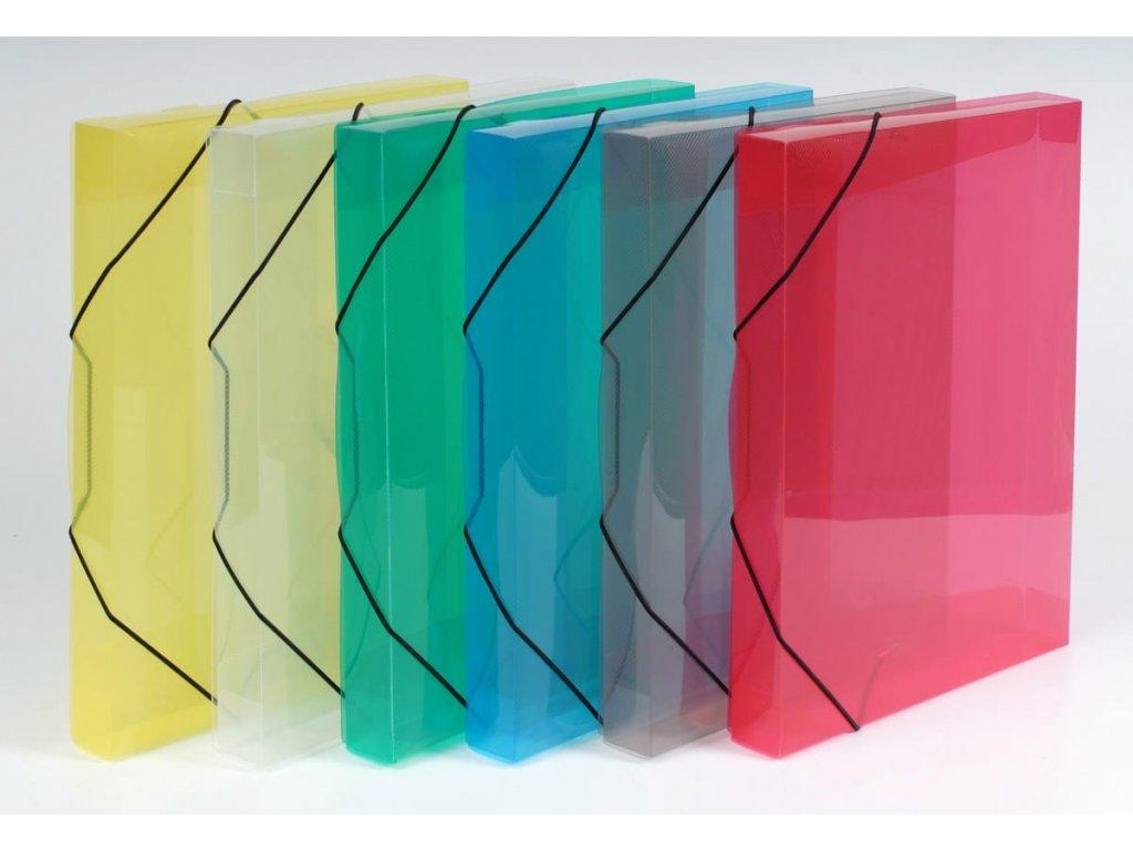 3chlopňové deskyTransparent, A4, hřbet 30 mm - mix barev