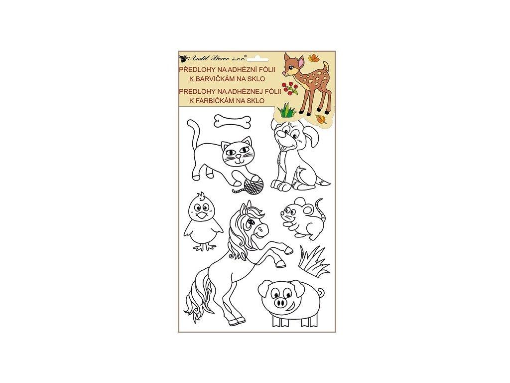 Předlohy na malování na sklo s vyvýšenou konturou zvířátka - domácí zvířátka
