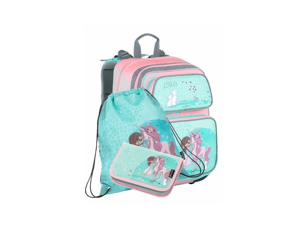 Školní batoh pro prvňáčky Bagmaster Gen 21 A - 3 dílný set  + Dárek zdrama voskovky 8,2mm  K-I-H -12 barev