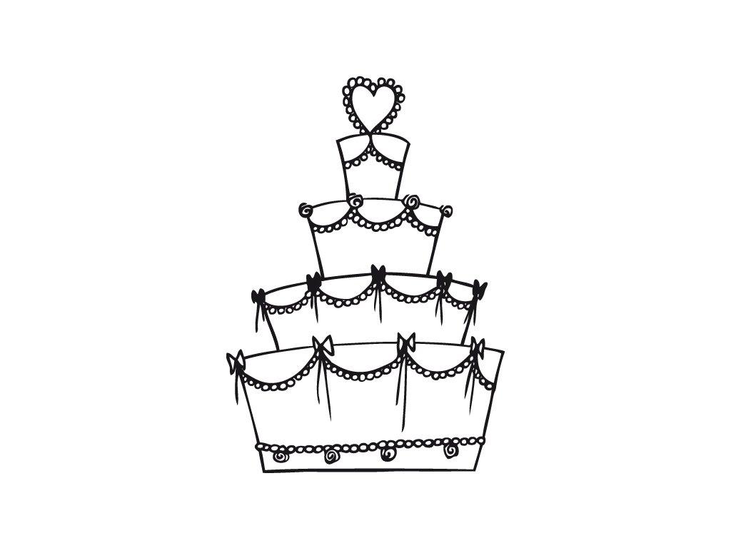 Dřevěné razítko, velikost D, svatební dort