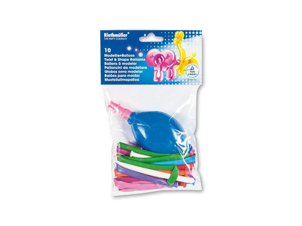 Modelovací balonky  s pumpičkou - mix barev 10 ks