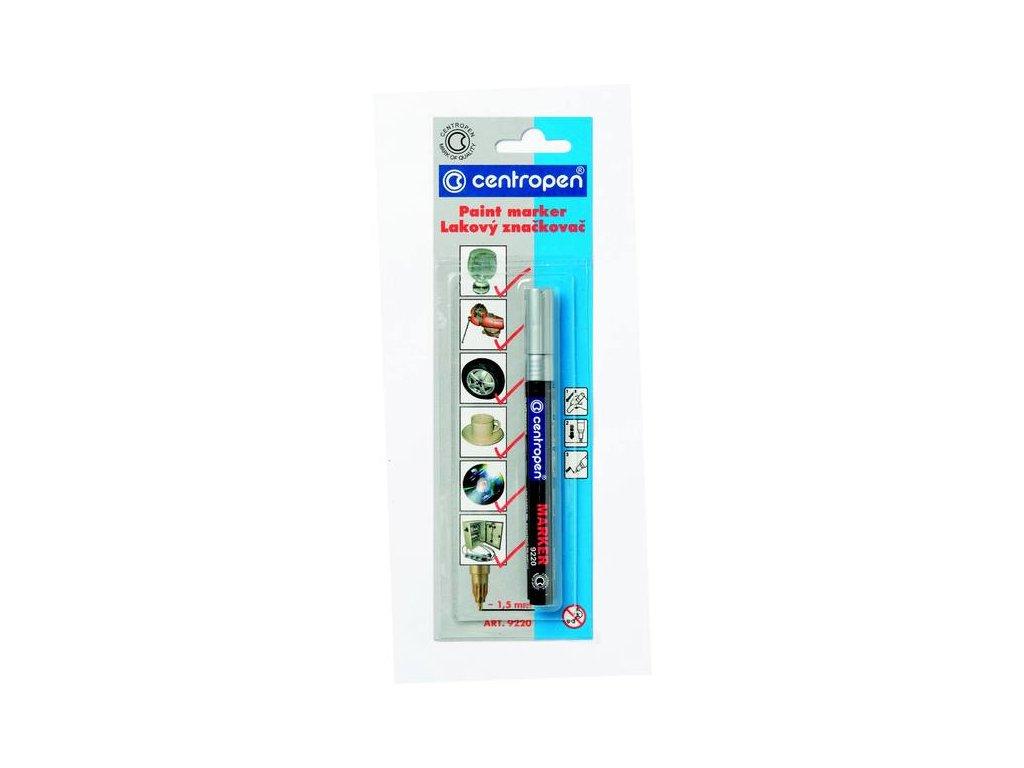 Lakový značkovač Centropen 9220 stopa 1,5mm - stříbrný