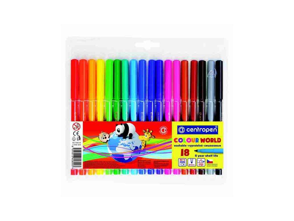 Dětské fixy Centropen Colour World 7550 sada 18 ks