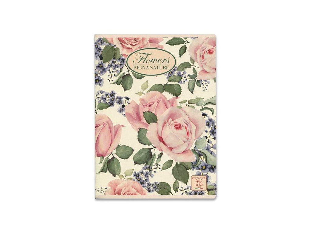 Školní sešit Pigna Nature Flowers - A4, čtverečkovaný, 40 listů