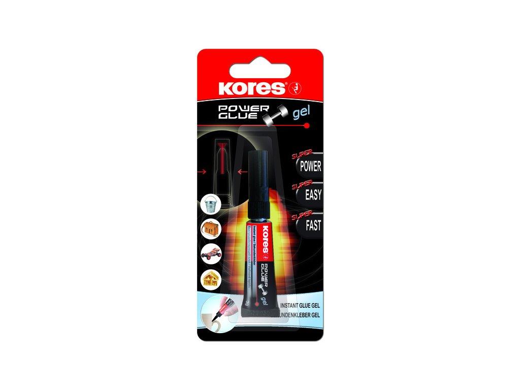 Vteřinové lepidlo Kores - Power Glue Gel 3 g - blister