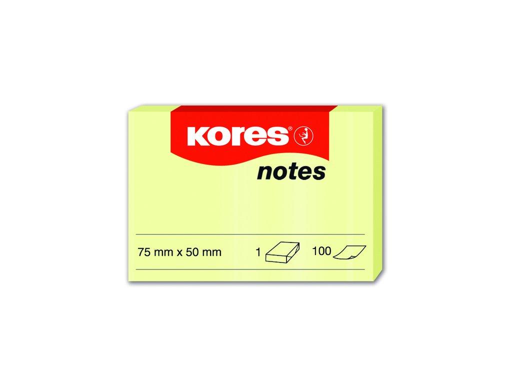 Samolepicí bločky Kores žluté 75x50 / 100 lístků v bločku