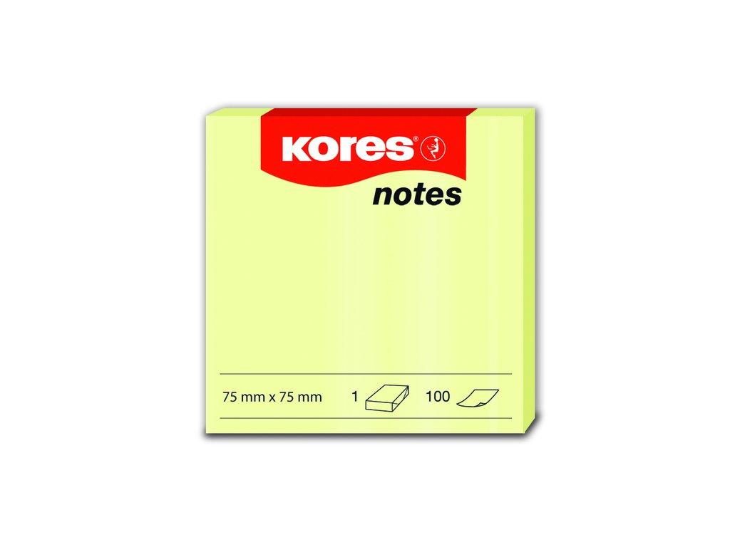 Samolepicí bločky Kores žluté 75x75 / 100 lístků v bločku