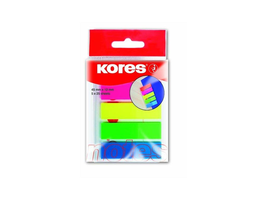 Neonové záložky Kores Index Strips 45x12 mm / 5 barev / 25 lístků á barva