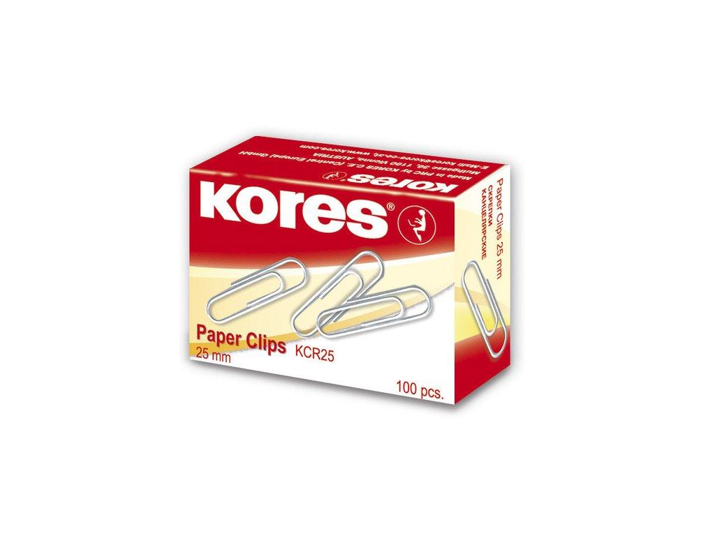Kancelářské sponky Kores 25 mm kulaté, 100 ks v krabičce