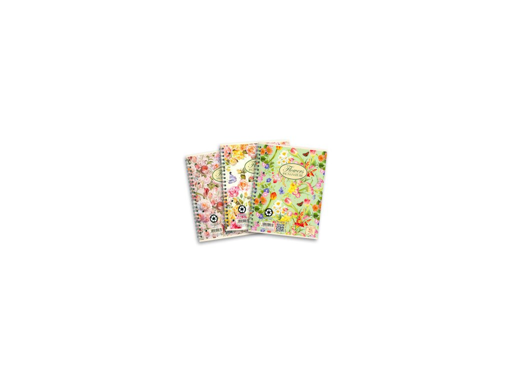 Kroužkový blok Pigna Nature Flowers - A4, linkovaný, 60 listů, mix motivů