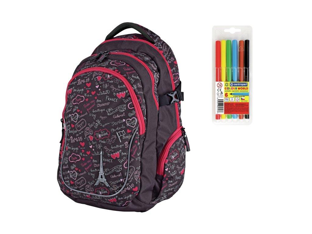 Školní batoh pro holky Stil Teen Paris + DÁREK ZDARMA - Fixy Centropen 6  barev a70975bcf1