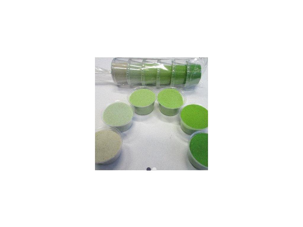 Sada barevných písků 6 barev -  č.6 - zelená