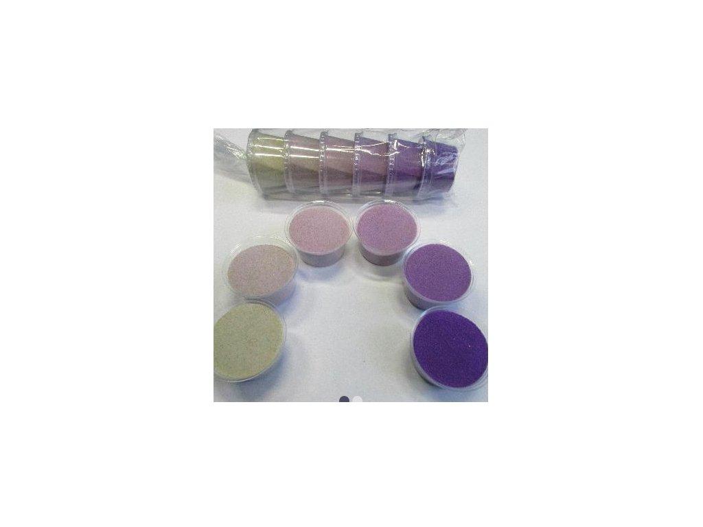 Sada barevných písků 6 barev -  č.3 -fialová