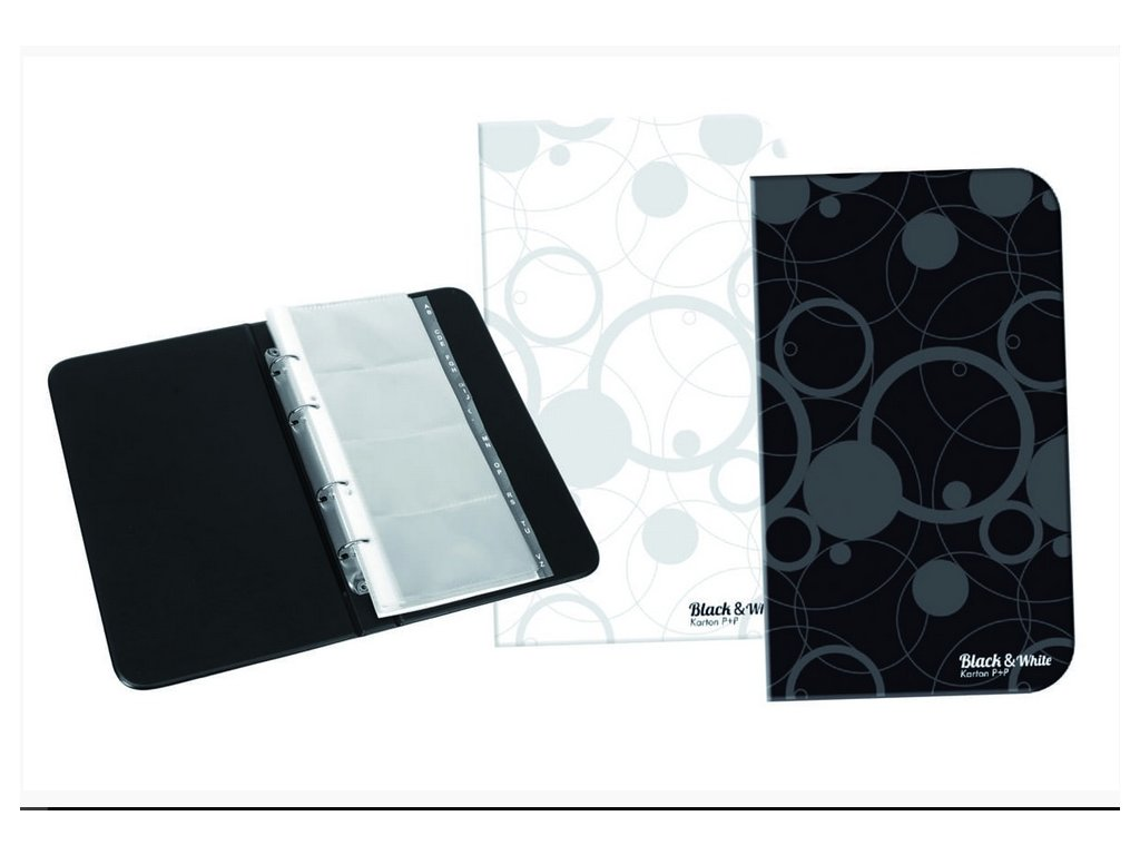Vizitkář Karton P+P kroužkový A5 na 80 vizitek B&W - mix barev