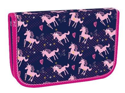Školní penál jednopatrový Stil -Pink unicorn