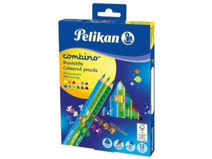 Pastelky trojhranné silné Pelikan Combino - 12 barev  + DÁREK ZDARMA - omalovánky Combino