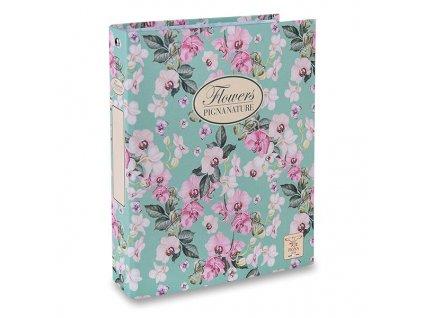 4kroužkový pořadač Pigna Nature Flowers, A4, kroužek průměr 30 mm, mix motivů