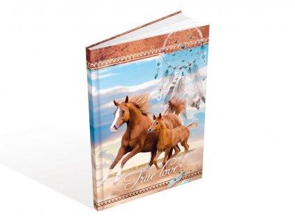 Záznamová kniha A5 MFP Koně 100 listů čistá