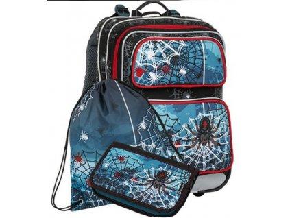 Školní batoh pro prvňáčky Bagmaster Galaxy 8 B - 3 dílný set  + Dárek zdrama voskovky 8,2  K-I-N 12 barev