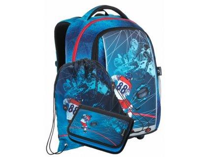 Školní batoh pro kluky Bagmaster MARK 21 A - 3 dílný set  + Dárek zdrama voskovky 8,2mm  K-I-H -12 barev