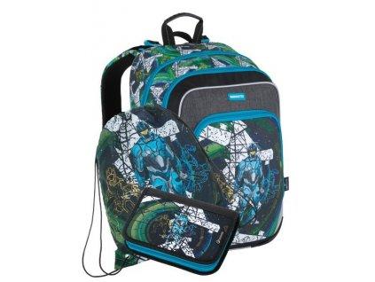 Klučíčí školní batoh pro prvňáčky Bagmaster NINY  21 A - 3 dílný set  + Dárek zdrama voskovky 8,2mm  K-I-H -12 barev