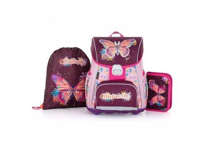 Školní set pro prvňáčka s motivem motýla  + Dárek zdrama  školní pero Tornádo se zmizíkem