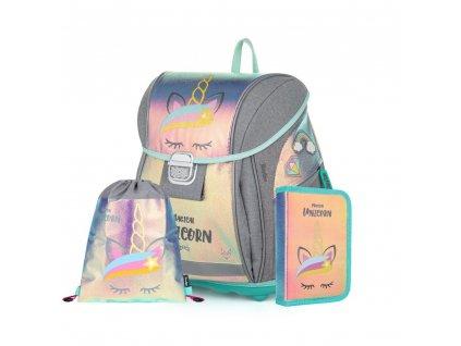 Školní set pro prvňáčka s motivem jednorožce Unicorn Iconic  + Dárek zdrama voskovky školné pero Tornádo se zmizíkem