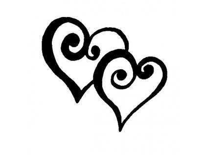 Dřevěné razítko, velikost C, srdce v páru