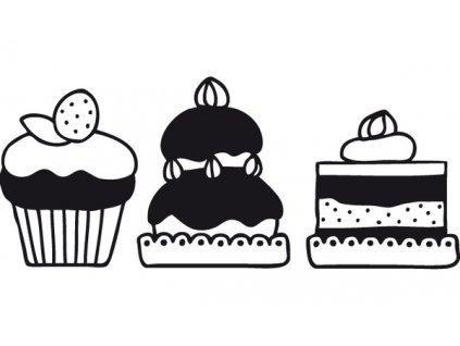 Dřevěné razítko, velikost C, cup cakes