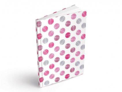 Záznamová kniha A5 MFP růžové puntíky 100 listů čtvereček
