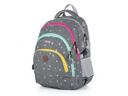 Studentský batoh OXY Scooler Grey dots, Karton P+P  + Liner zdarma jako dárek