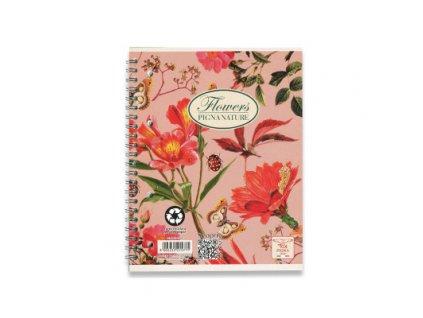 Kroužkový blok Pigna Nature Flowers - A4, čtverečkovaný, 60 listů
