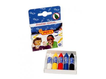 Barvy na obličej pro děti  -  5ks x 3,6g  /60mm, průměr 10mm/  tyčinky, závěs
