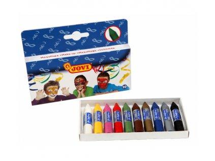 Barvy na obličej pro děti  10ks x 3,6g  /60mm, průměr 10mm/  tyčinky, závěs