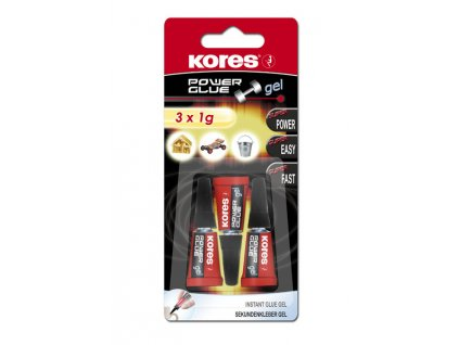 Vteřinové lepidlo Kores - Power Glue Gel, 3x1 g