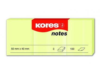 Samolepicí bločky Kores žluté 50x40 / 100 lístků v bločku - 3 ks  v jednom balení
