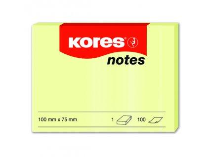 Samolepicí bločky Kores  žluté 100x75 / 100 lístků v bločku