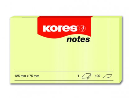 Samolepicí bločky Kores žluté 125x75 / 100 lístků v bločku