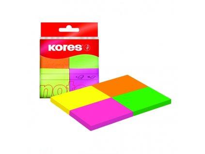 Neonové bločky Kores Multicolour ve 4 barvách 40x50 mm / 200 lístků v bločku