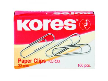 Kancelářské sponky Kores 33 mm kulaté, 100 ks v krabičce